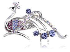 Purple Rhinestone Alloy Crystals Peacock Feather Bird Brooch Fashion Pin Jewelry