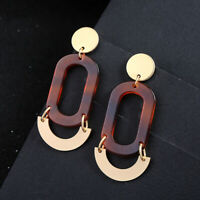 Gold Mottled Leopard Acrylic Women Elegant Fashion Earrings Drop Hoop Jewelry