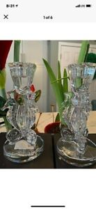 """Set of 2 Waterford Lead Crystal Seahorse Candle Holders, 6"""" Tall, NIB, Pair"""
