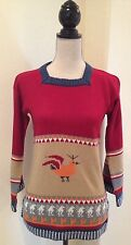 Vtg 70's Sweater Tribal Peru South American Colorful Chicken BoHo Hipster S/M