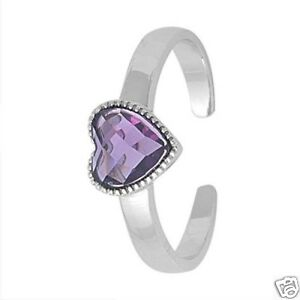 Heart Toe Ring with CZ Silver 925 Fashion Beach Adjustable Jewelry Gift Amethyst