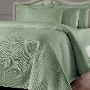 Solid Sage Green Quilted Stream 3 pc Quilt Set Twin Full Queen King Bed Coverlet