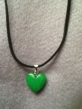 NATURAL JADE PUFF HEART GEMSTONE PENDANT + NECKLACE GIFT/BIRTHDAY/CHRISTMAS