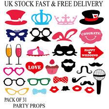 Props 31PC Photo Booth Moustache Crown Hat Glasses Stick Party Fun Vincenza UK