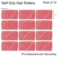 Soft Self Grip Cling Hair Curling Rollers MEDIUM RED 36mm Professional Pack 12