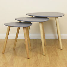 Grey & Wood Scandinavian Modern Set of 3 Living Room Nested Coffee/End Tables