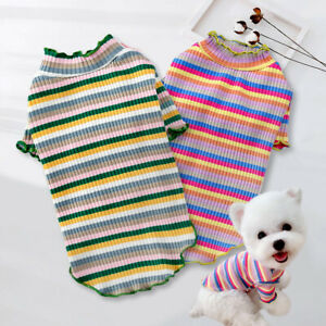 Puppy T Shirt for Small Dogs Soft Cotton Stripes Pet Cat Vest Chihuahua Clothes