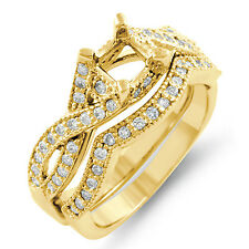 0.75Ct Princess Setting Diamond Bridal Set F VS1 Engagement Ring 14k Gold Yellow