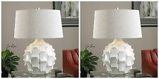 "TWO URBAN MODERN DECOR 27"" SCALLOPED GLOSS WHITE CERAMIC TABLE LAMP"