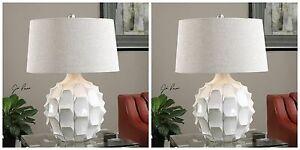 "PAIR MODERN 27"" SCALLOPED GLOSS WHITE CERAMIC TABLE LAMP LINEN FABRIC SHADE"