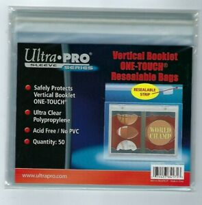 5 Packs of 50 Ultra Pro One Touch Booklet Storage Resealable Bag - Vertical