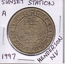 Casino Dollar Token Chip Coin Gambling - 1997 Sunset Station Henderson, Nevada