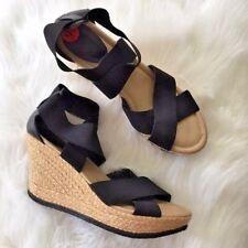 Kenneth Cole Reaction Womens Shoes Heels Wedges 9.5M New Black Beige Elastic