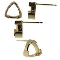 14k Yellow Gold V-End Trillion Stud Earring Mounting Setting Push Back Post