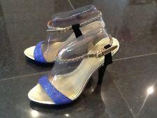 Juicy Couture NUOVO donna blu nero con tacchi sandali cinturino UK 4.5 EU 37.5