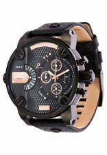 Latest Diesel Men's Little Daddy DZ7291 Black Leather Band Black Dial Watch