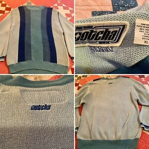 Vintage GOTCHA Ramie/Cotton Blue Snow/Ski Sweater Size XL, Nice!