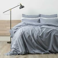 RENEE TAYLOR Lorimer 300TC Cotton Stonewash Quilt Cover Set CELESTIAL BLUE