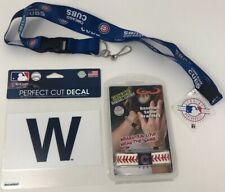 MLB Chicago Cubs Team- Classic Seam Bracelet, Cut Decal, and Blue Lanyard Bundle