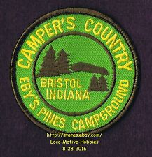 LMH Patch Badge  EBY'S PINES CAMPGROUND Ebys CAMPER'S COUNTRY RV Park BRISTOL IN