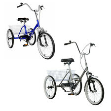 """Adult Folding Tricycle Bike 3 Wheeler Bicycle Portable Tricycle 20"""" Wheels"""