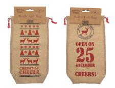 Christmas Corner Wine Bottle Gift Bag 2 Pack Vintage Style Canvas look