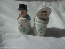 ENGLISH STAFFORDSHIRE SALT AND PEPPER SHAKERS, KATE GREENAWAY , BOY AND GIRL