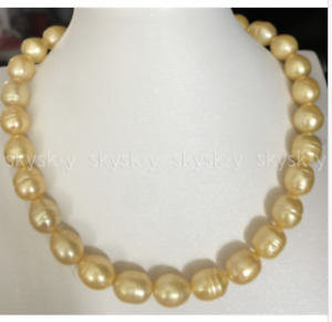 """Charming 10-13mm Natural South Sea Golden Pearl Necklace 18"""" 14K Gold Clasp"""