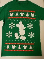 Disney ~ Green Mickey Mouse Christmas T-Shirt * Size Small * Snowflakes