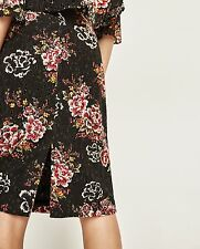 Zara Black Red Floral Lace Pencil Fitted Slit Back Skirt Size XS 6 UK Blogger ❤