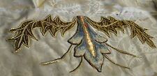 SILK DAMASK W APPLIED EXQUISITE ANTIQUE COUCHED METALLIC & SILK EMBROIDERY PP978