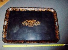 antique American Folk Art Tole Serving Tin Painted Tray early 19th c
