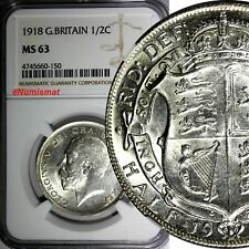 Great Britain George V Silver 1918 1/2 Crown NGC MS63 WWI Issue  KM# 818.1