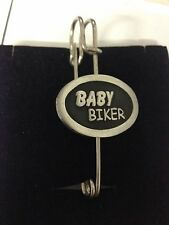 """Baby Biker F39 Scarf , Brooch and Kilt Pin Pewter 3""""  7.5 cm"""