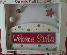 Welcome Santa Ceramic Wall Hanging Snowman Hand Painted Holiday Decoration