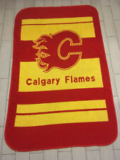 AWESOME Vintage 90's CALGARY FLAMES Throw BLANKET Hockey NHL 52 x 82 Snuggly