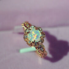 Exquisite Fashion Opal Round Gold Plated Ring 925 Women Wedding Jewelry Lot 7