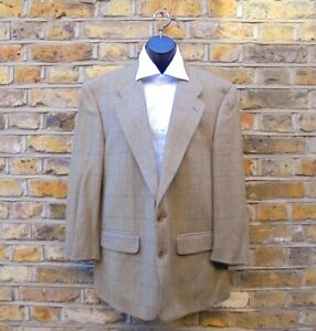 BURBERRY Nordstrom Men 100% Wool Brown Large Check Blazer Sport Coat Size Large