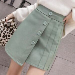 Leather Skirt Women Korean Chic Single Breasted Preppy Style High Waisted Skirts