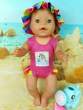 """Dolls clothes for 17"""" Baby Born Doll~BLUE DOG PINK/STRIPED SWIMMING COSTUME~HAT"""