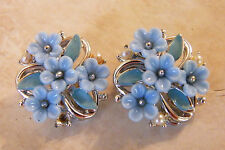 Vintage FLOWER CLIP EARRINGS CELLULOID ENAMEL FAUX PEARL SILVER TONE Light Blue