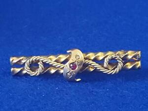 Antique B'ham 1898 H/M 9ct Yellow Gold Rope Bar Brooch w Ruby & Seed Pearls 3.6g