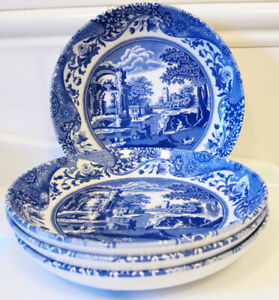"""SPODE BLUE ITALIAN PASTA BOWL SET OF 4 made in ENGLAND  9"""" New with Tag"""