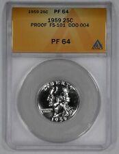 1959 PROOF WASHINGTON QUARTER 25C ANACS CERTIFIED PF PR 64 FS-101 DDO-004 (325)