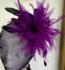 Purple feather black mini top hat fascinator millinery burlesque wedding ascot