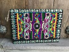 Black Mexican Ornately Embroidered Beaded Large Clutch Purse Bag