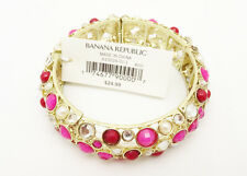 Stretch Bracelet With Pink Red & Clear Rhinetones by Banana Republic #b1257