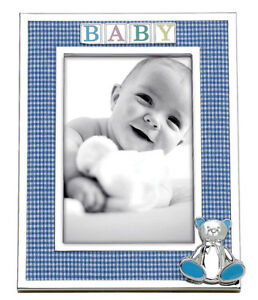 """Reed & Barton Silverplate Baby Photo Frame 4x6"""" Gingham Blue 3D Bear #2646 New"""