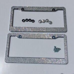 2 Bling License Plate Frame White Silver Glitter Crystal Sparkling Rhinestone