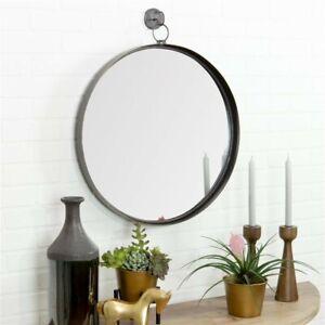 Aspire 6343 28 x 24 x 2 in. Bescott Suspended Round Wall Mirror; Gray